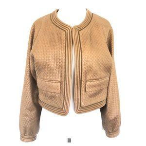 Ann Klein Jacket Blazer Leather Weaved Pattern